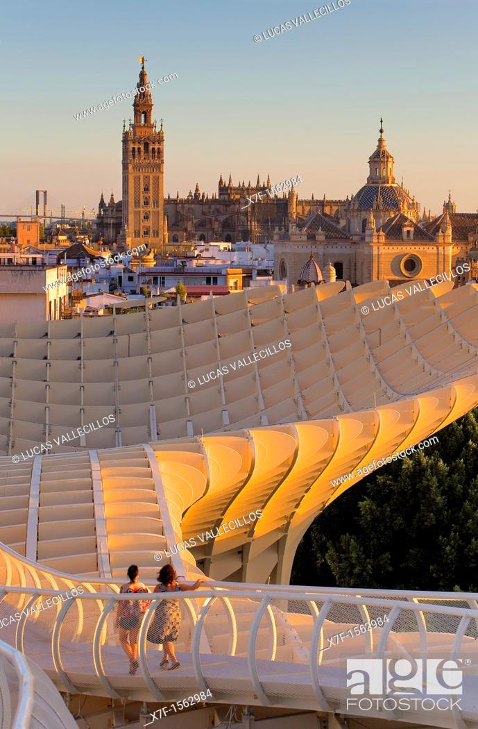 Stock Photo: Top of Metropol Parasol and the cathedral,from Plaza de la Encarnación,Sevilla,Andalucía,Spain.