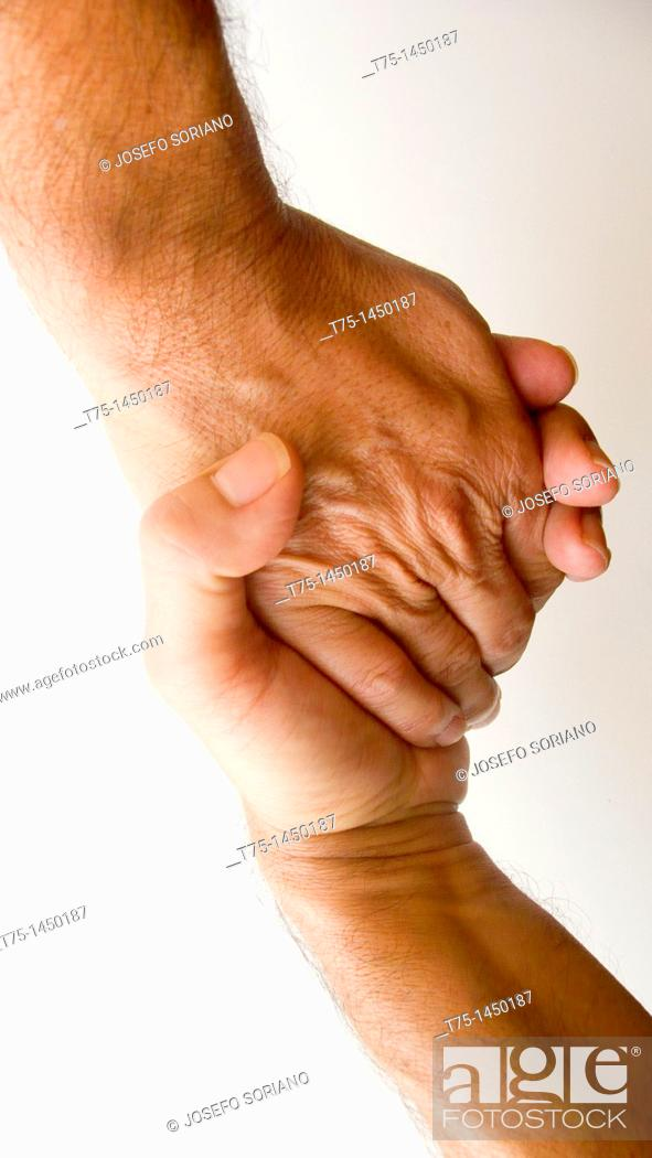 Stock Photo: Joined hands.