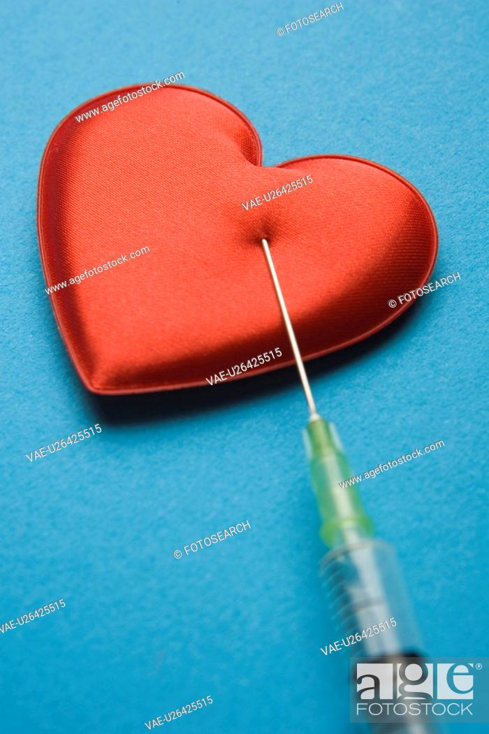 Stock Photo: Blue, Close-Up, Colored Background, Heart Shape, Indoors.