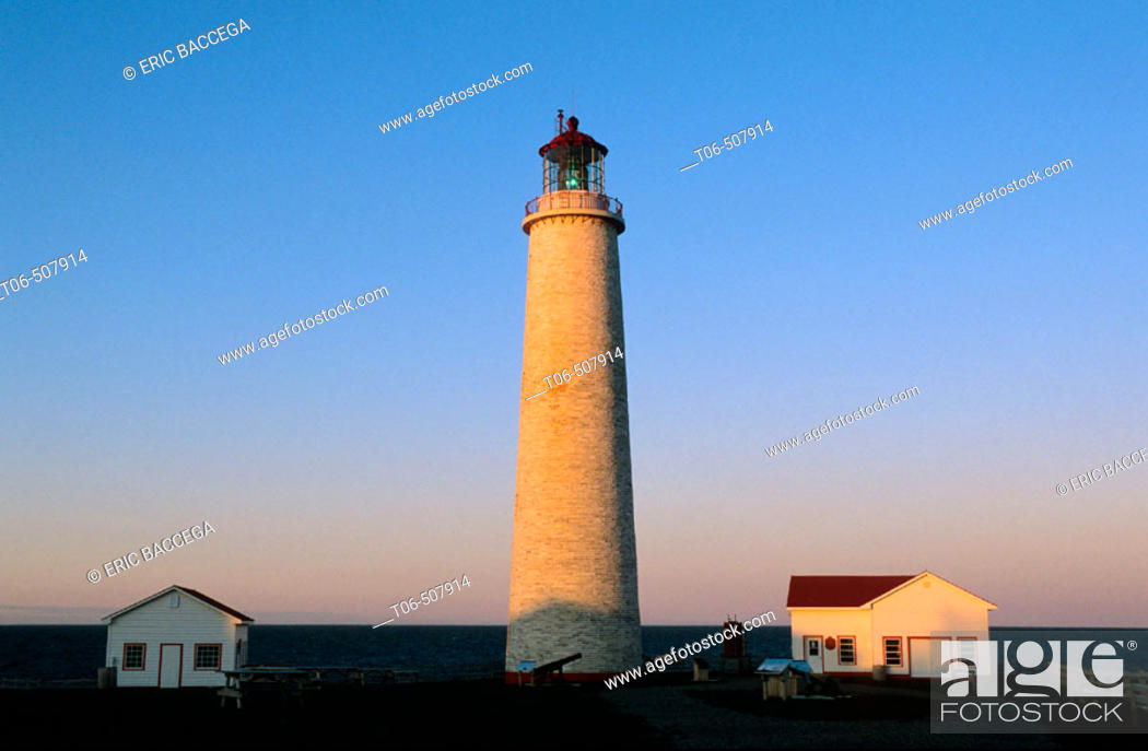 Stock Photo: Lighthouse at sunset, Cap des Rosiers, Gaspesie, Quebec, Canada.
