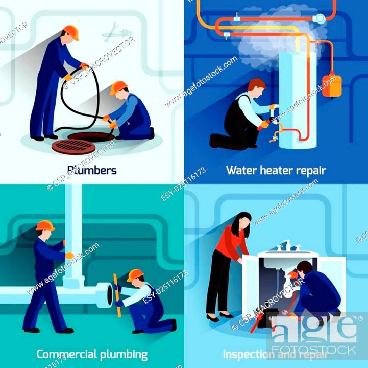 Stock Vector: Plumber icons set.