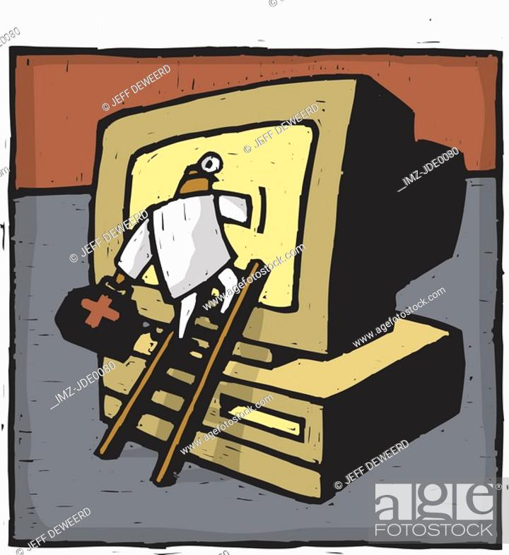 Stock Photo: A doctor climbing into the computer.