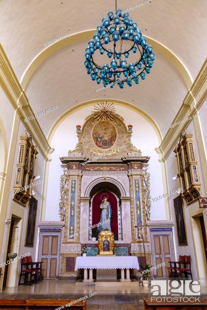 Stock Photo: retablo de la Mare de Deu de Loreto, iglesia de la Immaculada Concepció, Galilea, Puigpunyent, Mallorca, balearic islands, Spain.