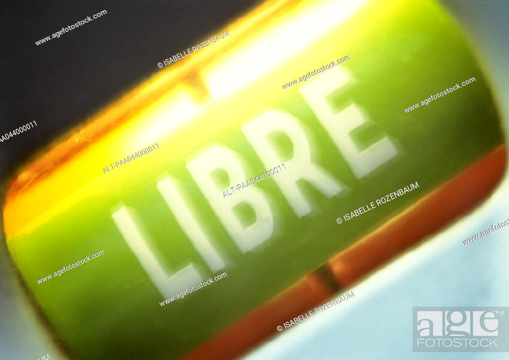 Stock Photo: 'Free' text in French, close-up.