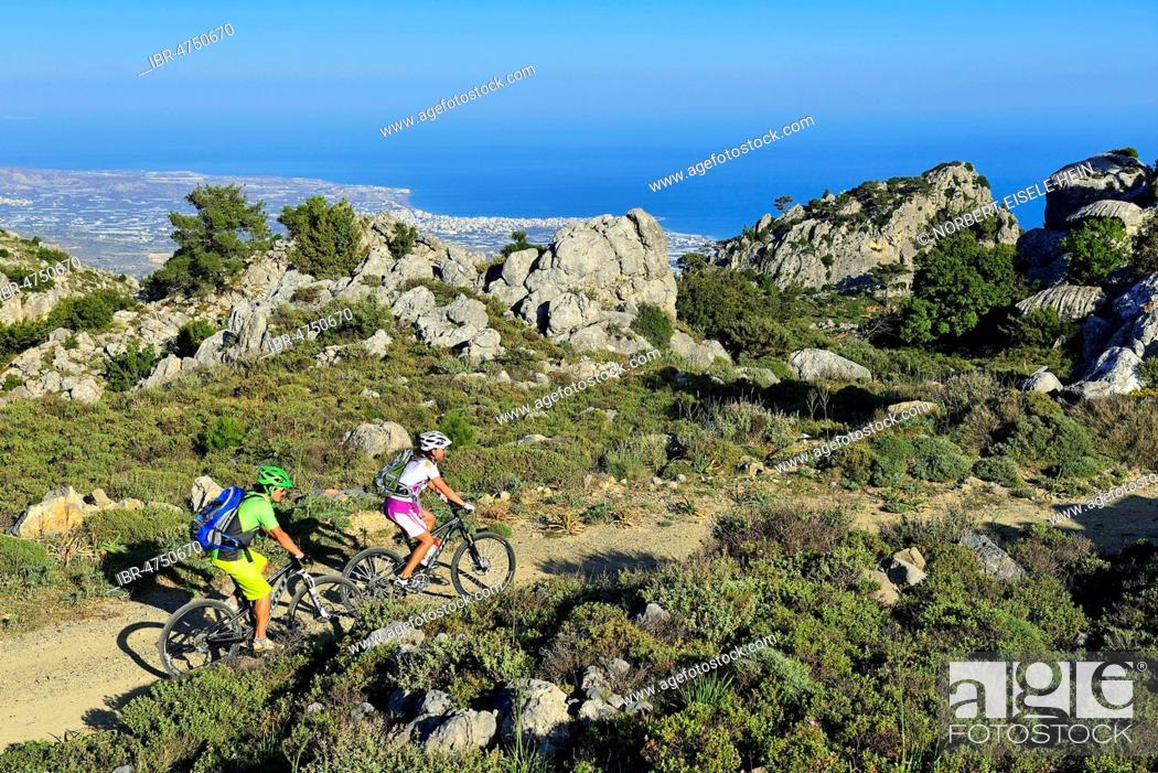 Photo de stock: Two mountain bikers ride through Macchia, near Stavros, Selakano, in the back place Lerapetra, Crete, Greece.