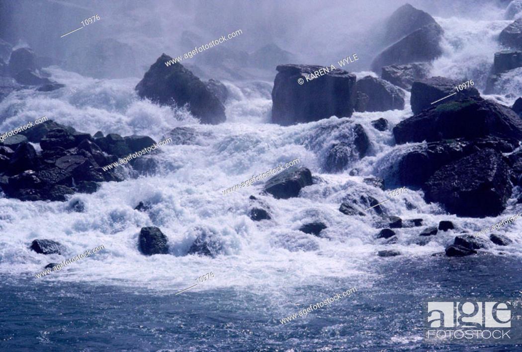 Stock Photo: Base of a waterfall at Niagara Falls.