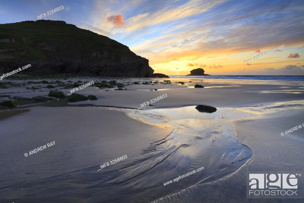 Stock Photo: Portreath Beach on the North Coast of Cornwall, captured shortly before sunset in late May.