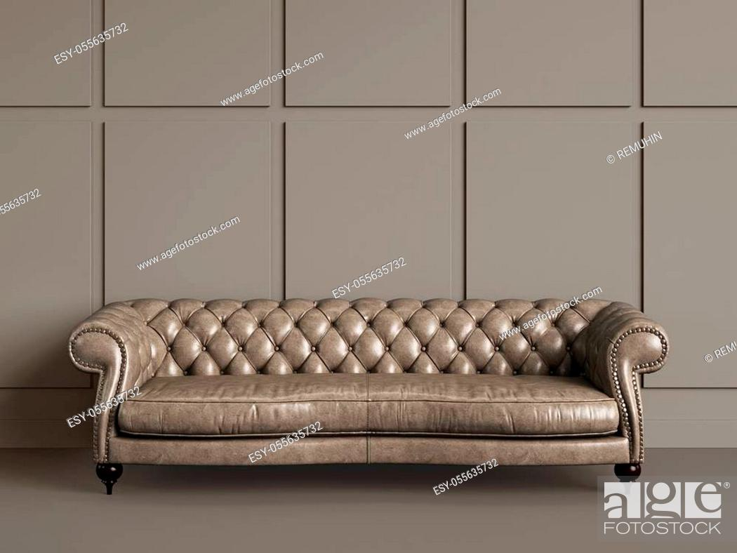 Stock Photo: Classic tufted sofa in empty room with beige walls. Digital Illustration. 3d rendering. Minimal concept.