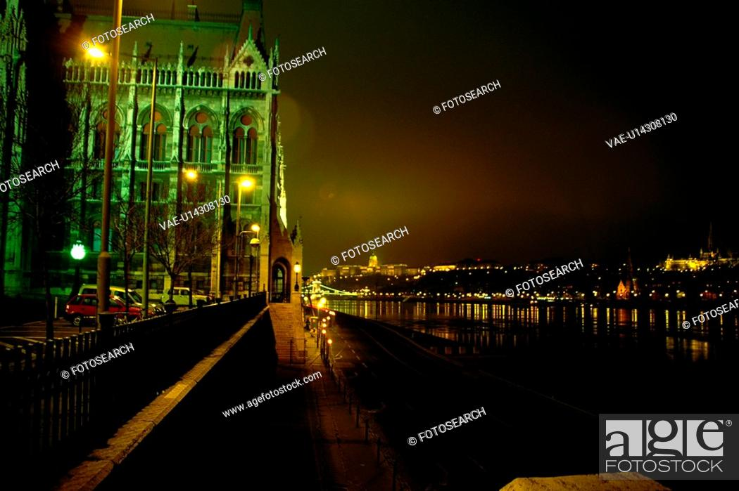 Stock Photo: river, scene, Budapest, Hungary, europe, tourist resort.