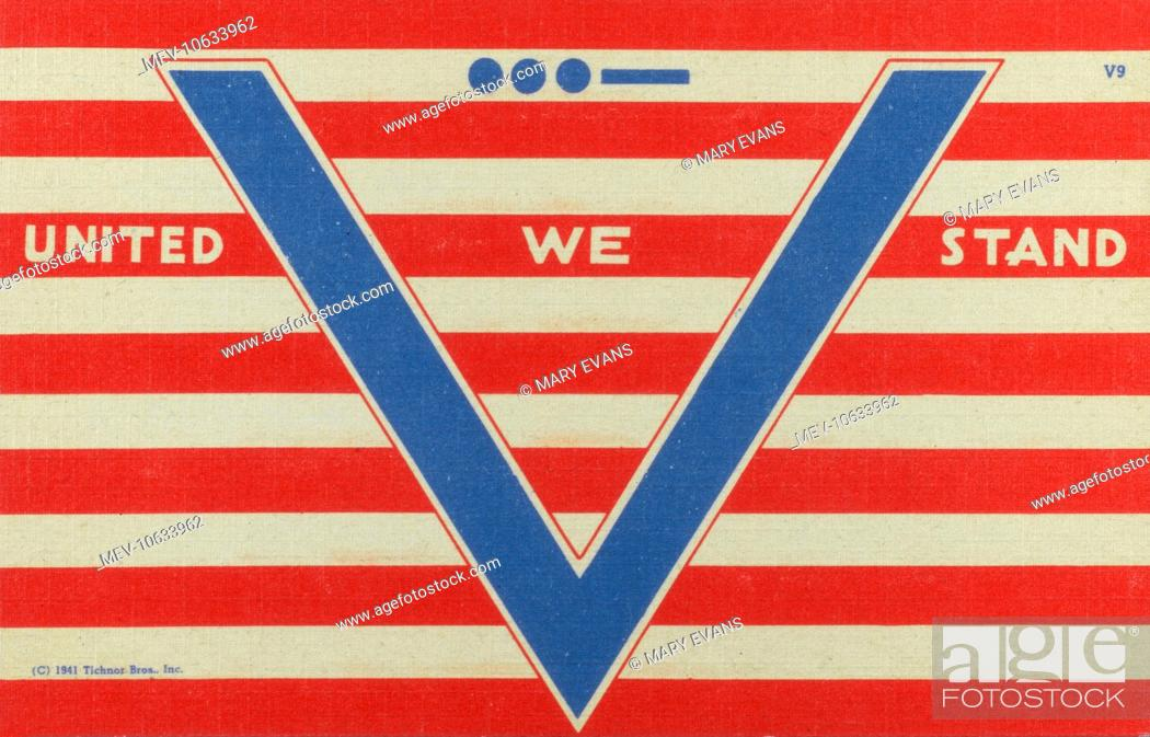 V For Victory World War Two Propaganda Postcard United We Stand