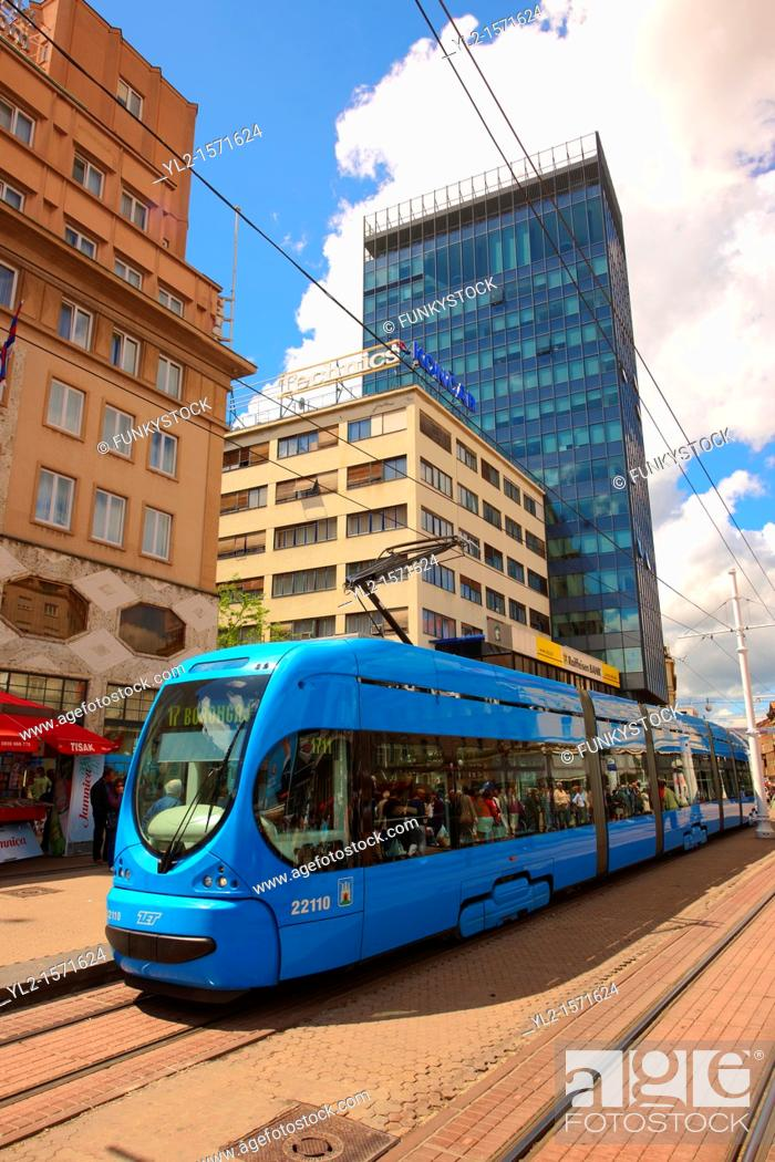 Stock Photo: Modern tram in the Square of Ban Josip Jelacic, Zagreb, Croatia.