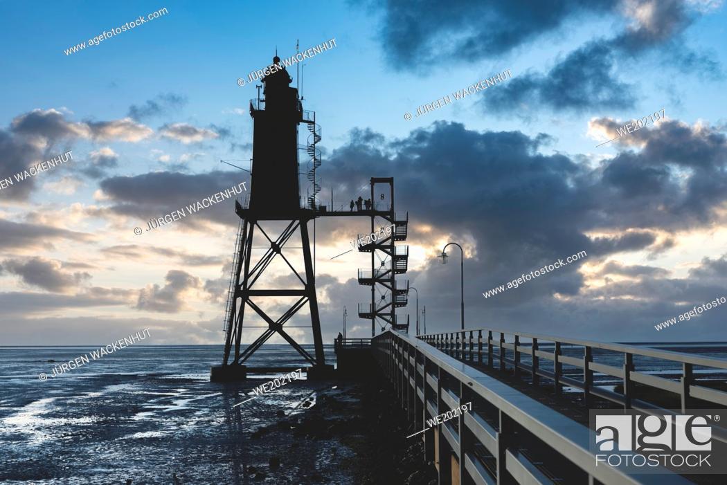 Stock Photo: Lighthouse Obereversand, Dorum-Neufeld, Lower Saxony, Germany, Europe.