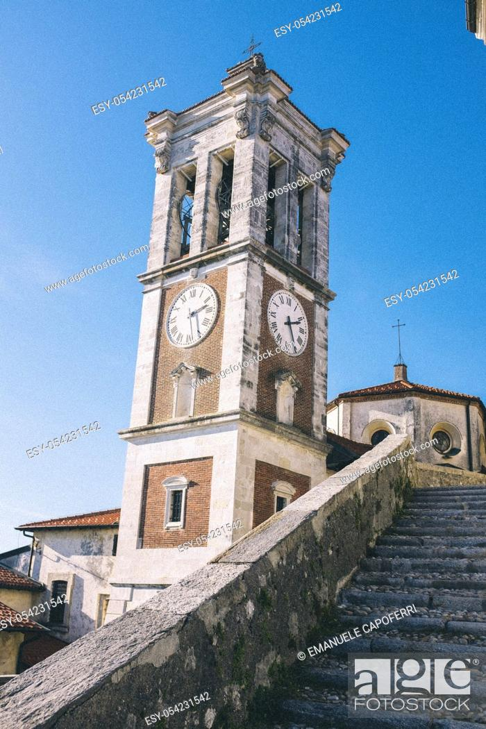 Stock Photo: Bell tower of the church of Sacro Monte of Varese, Lombardy, Italy.