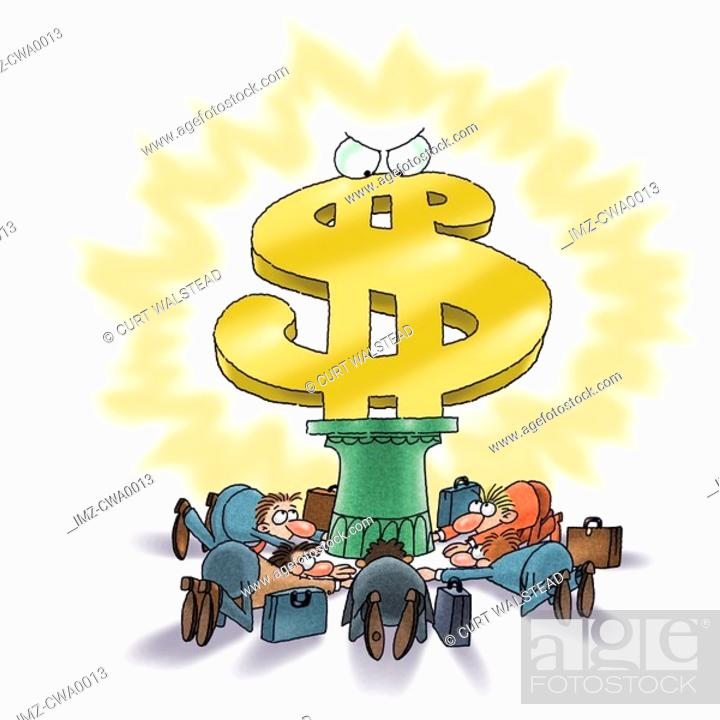 Stock Photo: A group of businessmen worshipping the dollar.