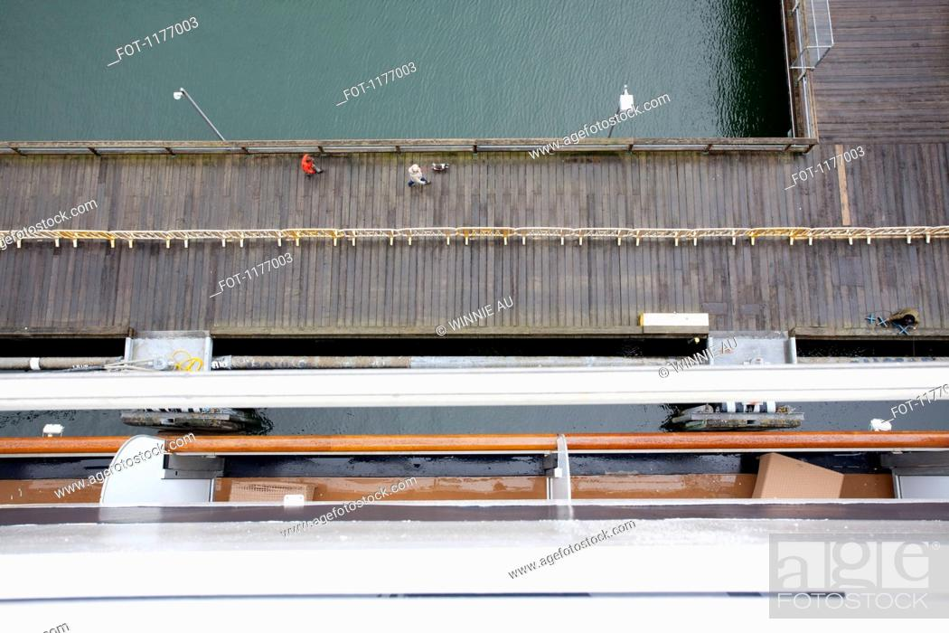Stock Photo: View of a dock from the balcony of a passenger ship, Juneau, Alaska.