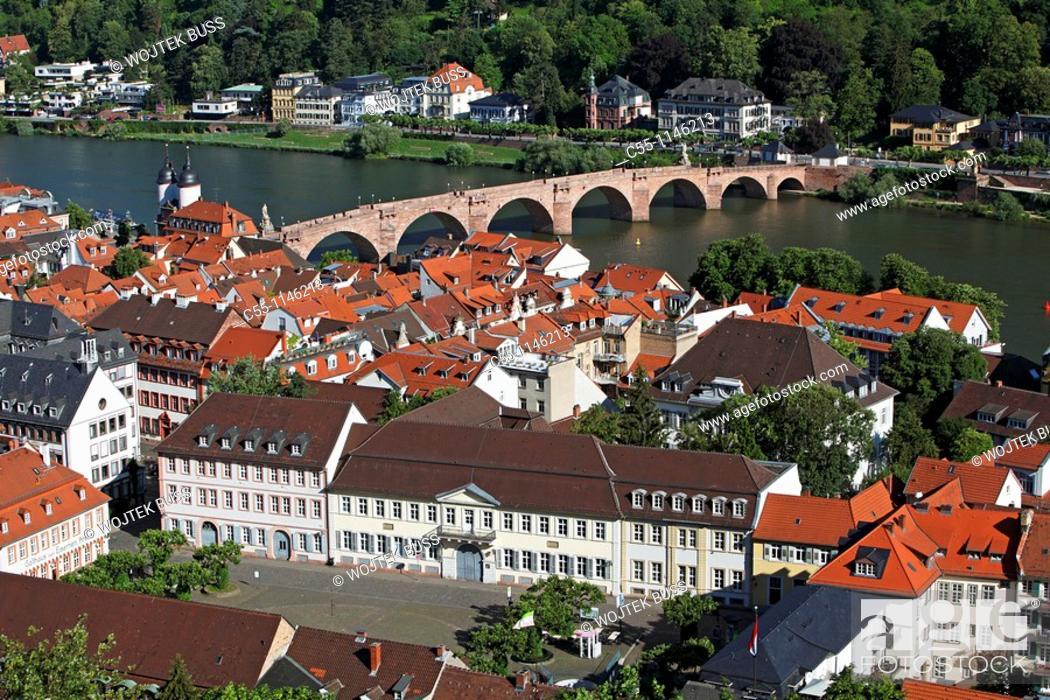 Stock Photo: Heidelberg, old town, Karl Theodor Bridge, Old Bridge, Baden-Württemberg, Germany.