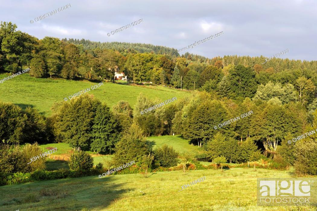 Stock Photo: view over countryside from Les Roulottes du Livradois, Cunhat, Livradois-Forez Regional Nature Park, Puy-de Dome department, Auvergne region, France, Europe.
