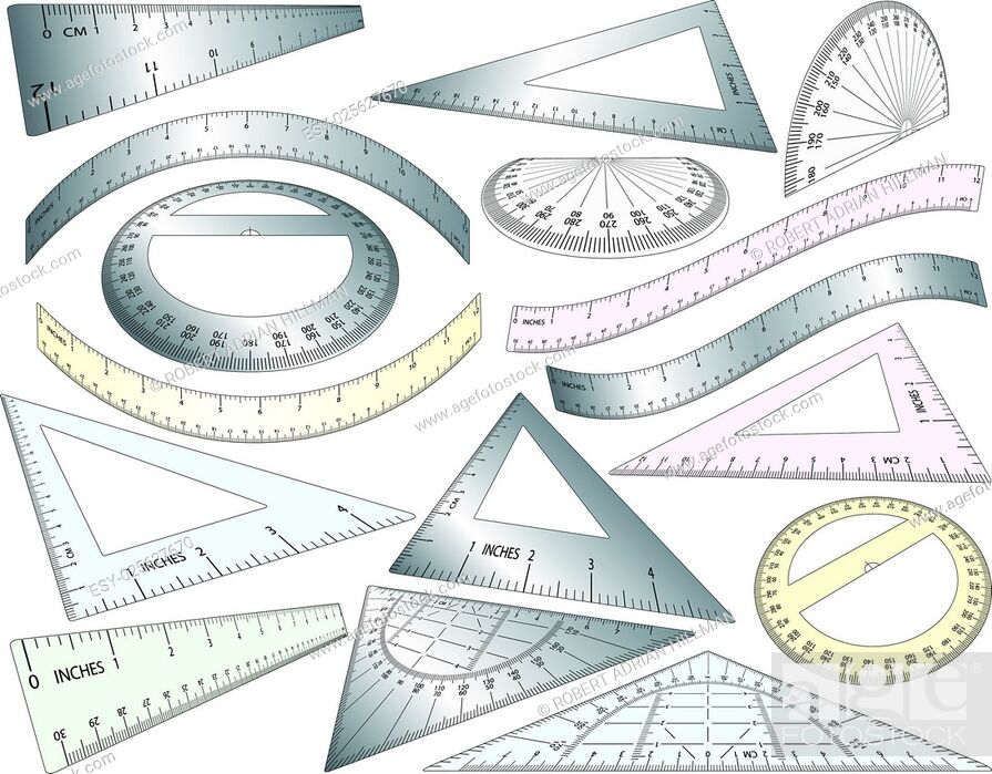 Vector: Set of angled and bent editable vector rulers, set squares and protractors in plastic and metal.