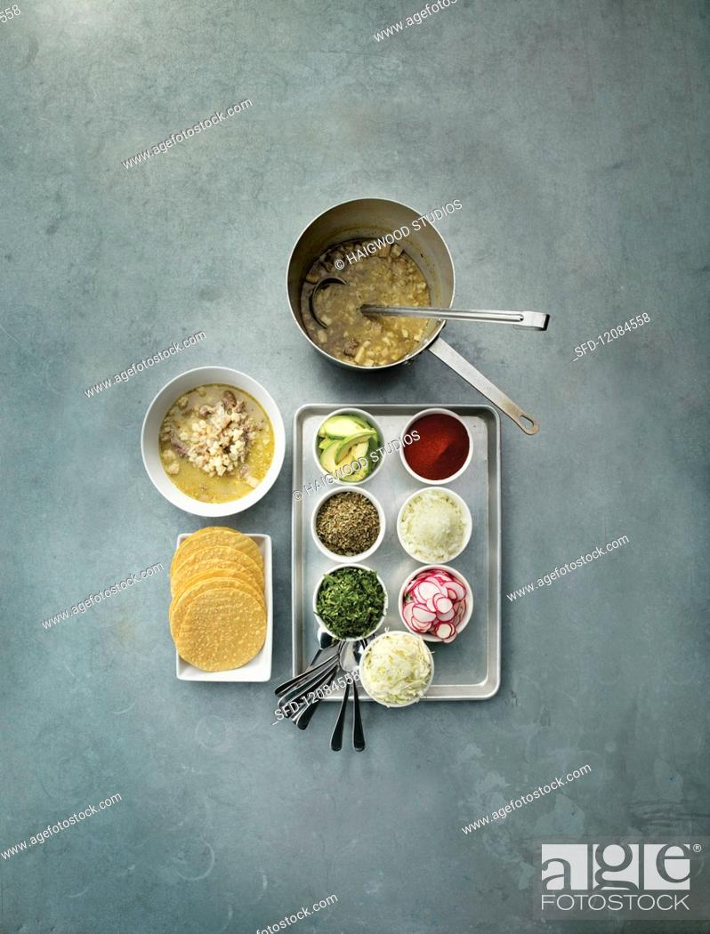 Stock Photo: Ingredients for pozole (a Mexican stew).