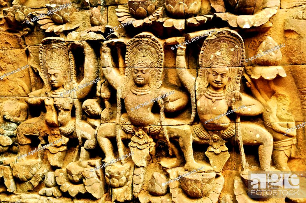 Stock Photo: Cambodia, Siem Reap Province, Angkor site listed as World Heritage by UNESCO, bas relief detail of the terrace of the Leper King.
