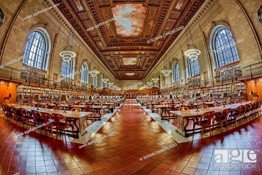 Stock Photo: The ornate Rose Main Reading Room at the Stephen A. Schwarzman Building commonly known as the main branch of The New York Public Library located on 5th Avenue.