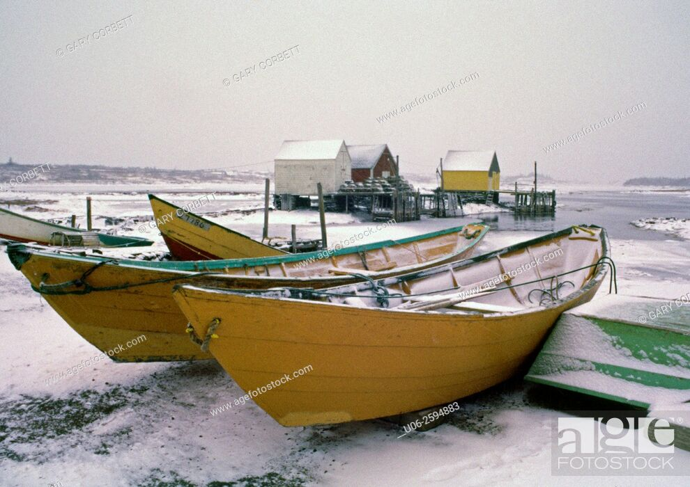 Stock Photo: Dorys in winter at Blue Rocks, Nova Scotia, Canada.