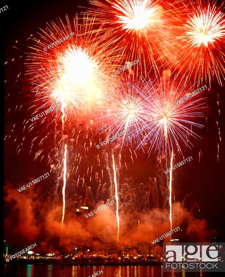 Stock Photo: landscape, night, scenery, event, fireworks, city, nightview.