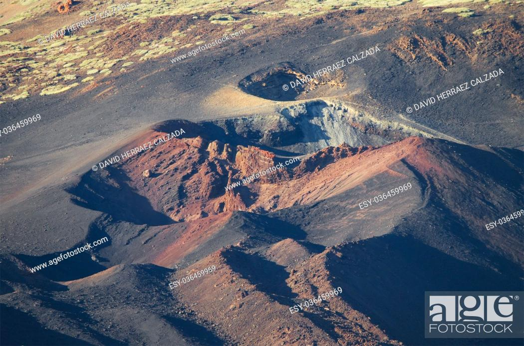Stock Photo: Pico Viejo crater, volcanic landscape in El teide National Park, Canary Island, Spain.
