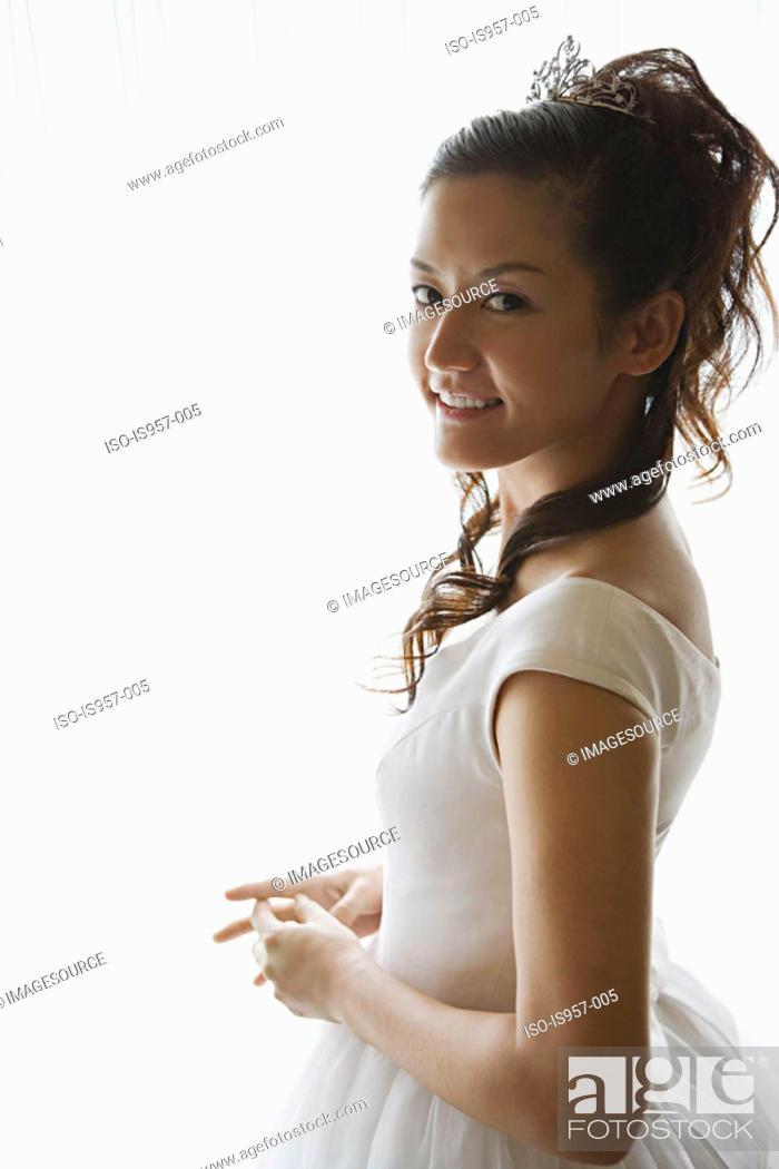Stock Photo: Bride smiling.