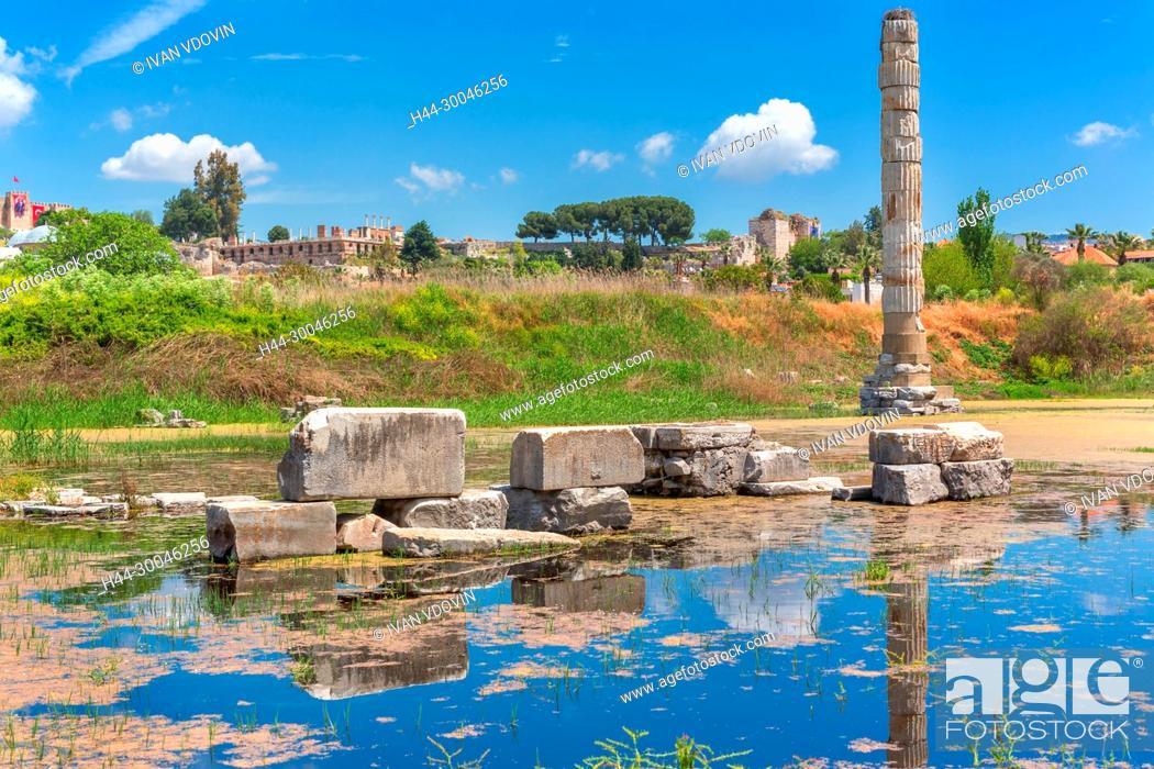 Stock Photo: Ruins of Temple of Artemis, Ephesus, Selcuk, Izmir Province, Turkey.
