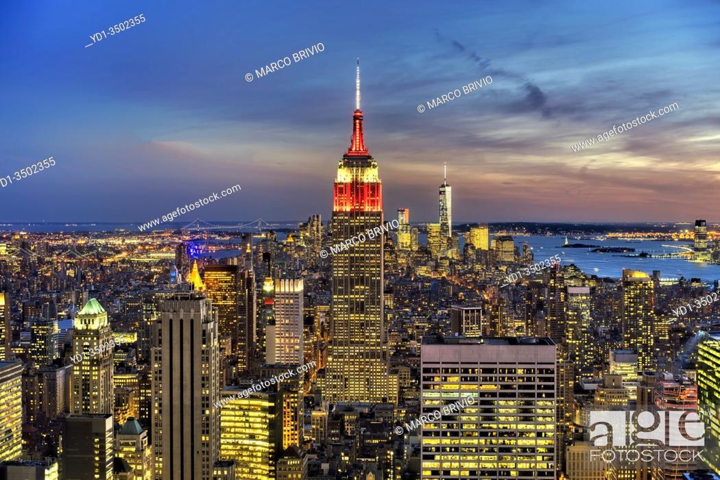 Stock Photo: New York. Manhattan. Elevated view at sunset.
