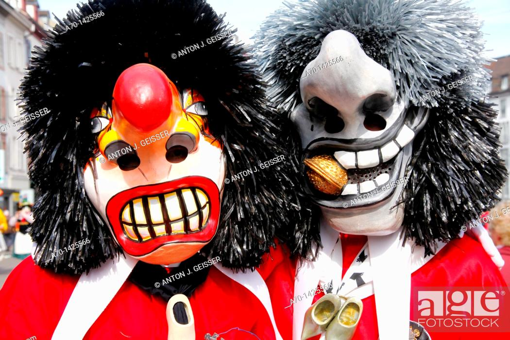 Stock Photo: Basel carneval , waggis , switzerland.