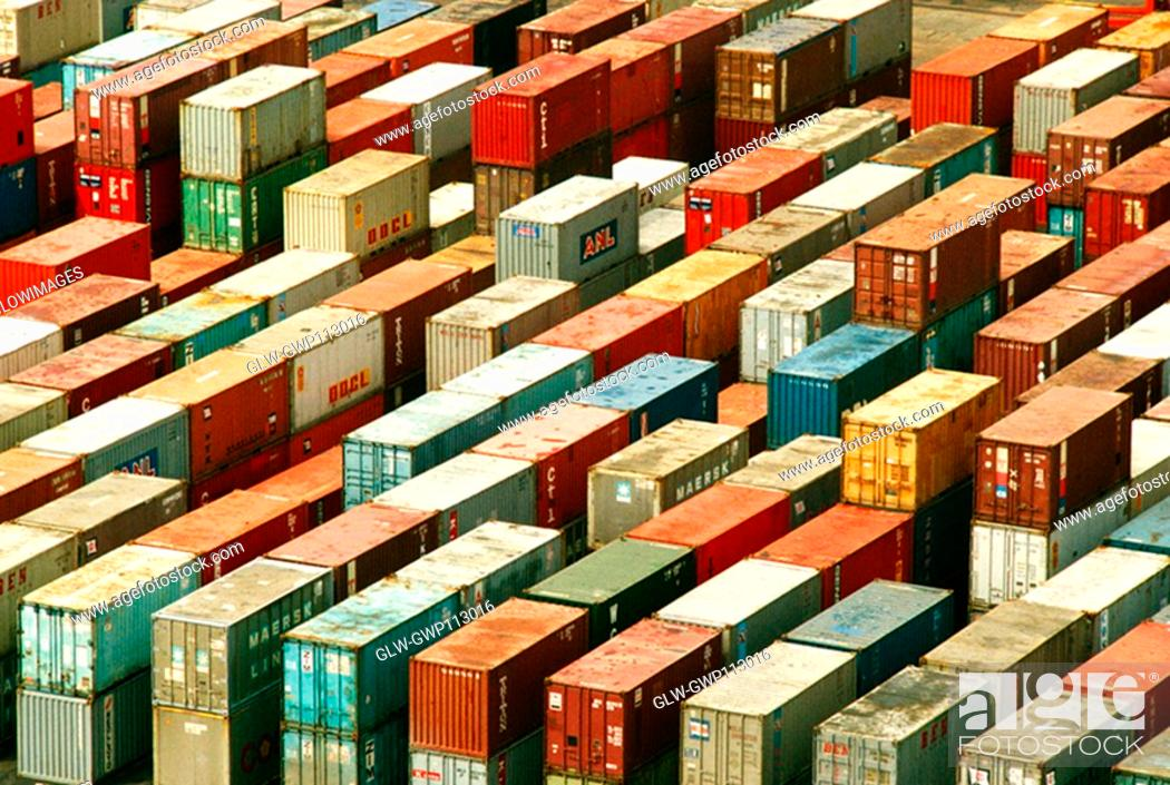 Stock Photo: High angle view of containers at a dock, Hong Kong, China.
