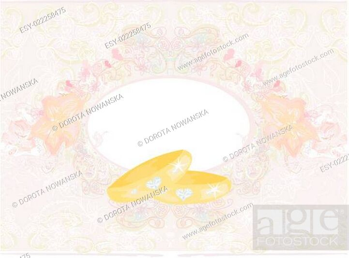 Stock Photo: wedding Invitation card with rings.