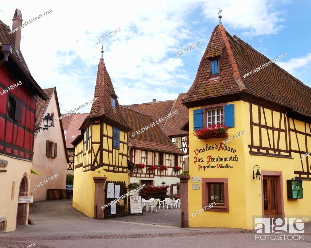 Stock Photo: Wine cellar at Eguisheim, Alsace  France.