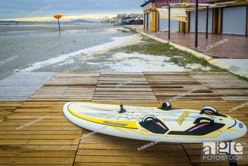 Stock Photo: Surfboard view in Playa Lisa beach, Santa Pola, Alicante province, Spain.