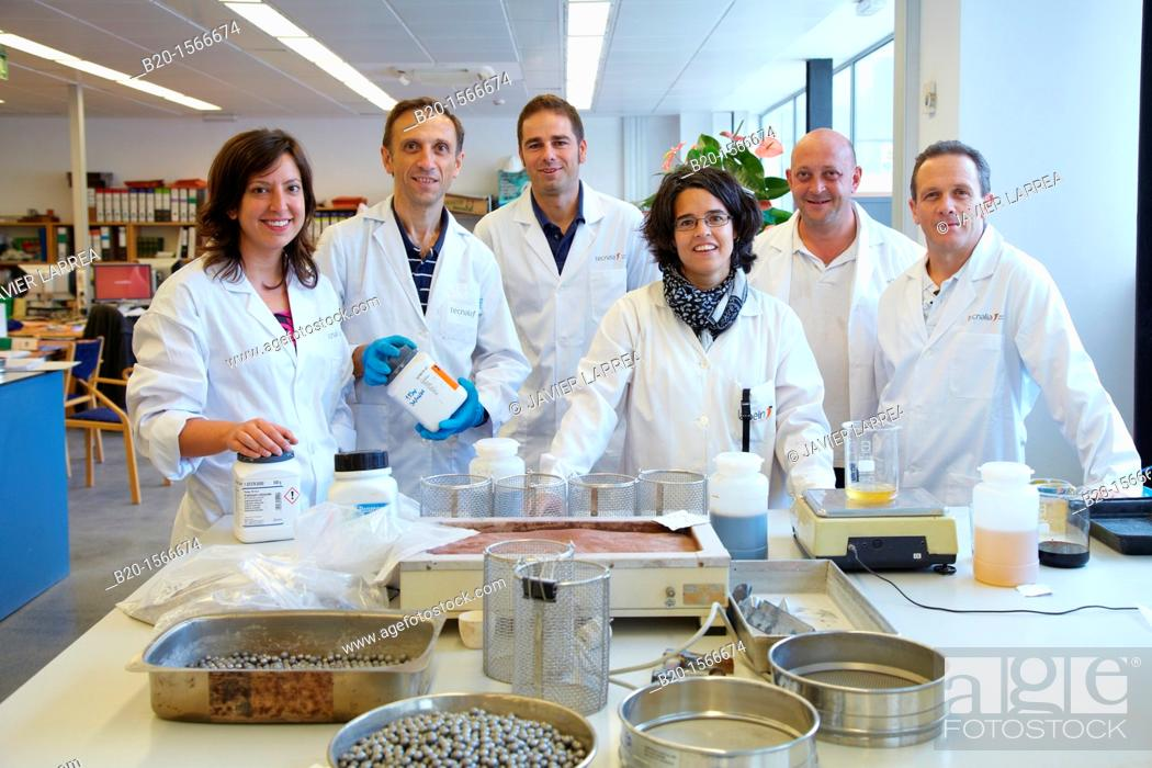 Stock Photo: Team of researches, Manufacture of concrete with steel arid, Laboratory, Research on building materials, Tecnalia Research & Innovation, Zamudio, Bizkaia.