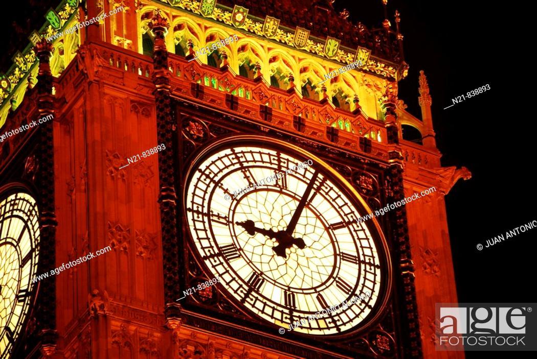Stock Photo: Lighted Big Ben London, England.