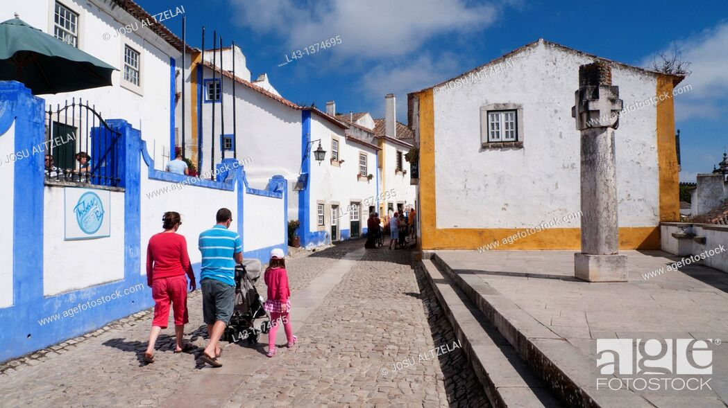 Stock Photo: Street of Obidos,estremadura,portugal.