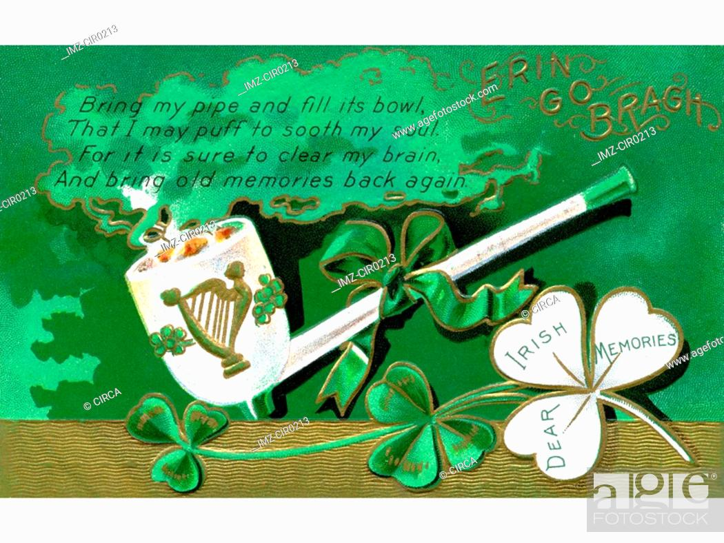 Stock Photo: A vintage card with a St Patricks Day poem.