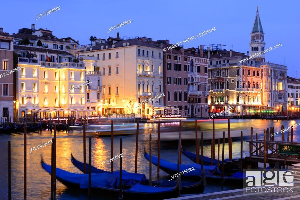 Stock Photo: Grand Canal at dusk, Venice, Italy.