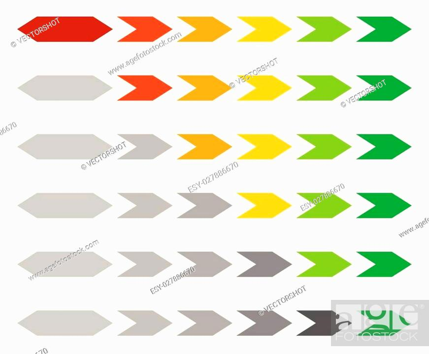 Stock Vector: Progress / loading bar, step, stage indicators with hexagons.