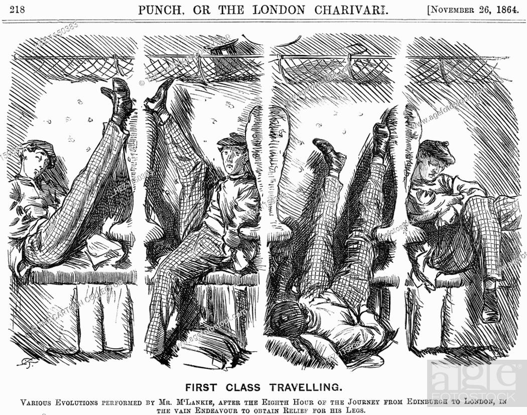 Stock Photo: 'First Class Travelling', 1864. Various Evolutions Performed by Mr. M'Lankie, after the Eighth Hour of the Journey from Edinburgh to London.