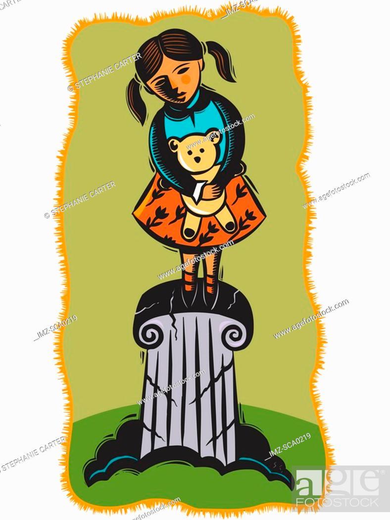 Stock Photo: child on crumbling pedestal.