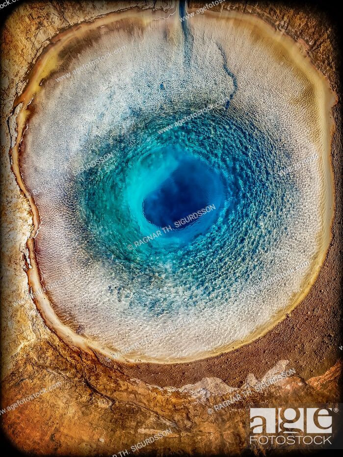 Stock Photo: Top view of Strokkur Geyser prior to erupting, Iceland. This image is shot with a drone.