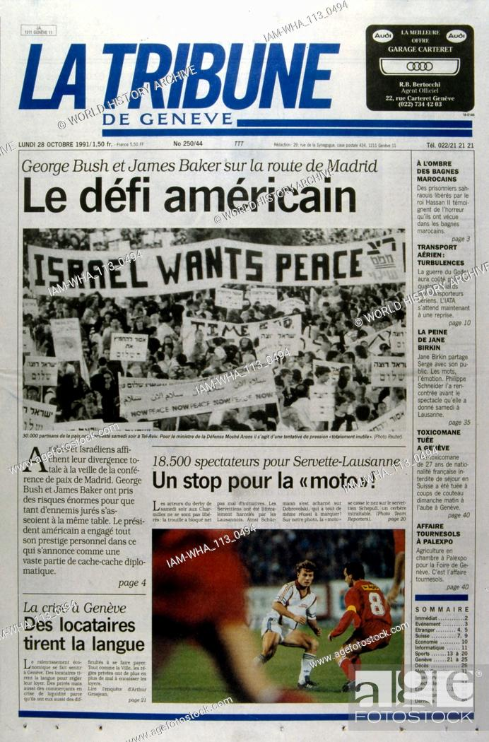 Stock Photo: Front Page of the French publication 'La tribune' reporting on the Madrid Conference; a peace conference, held from 30 October to 1 November 1991 in Madrid.