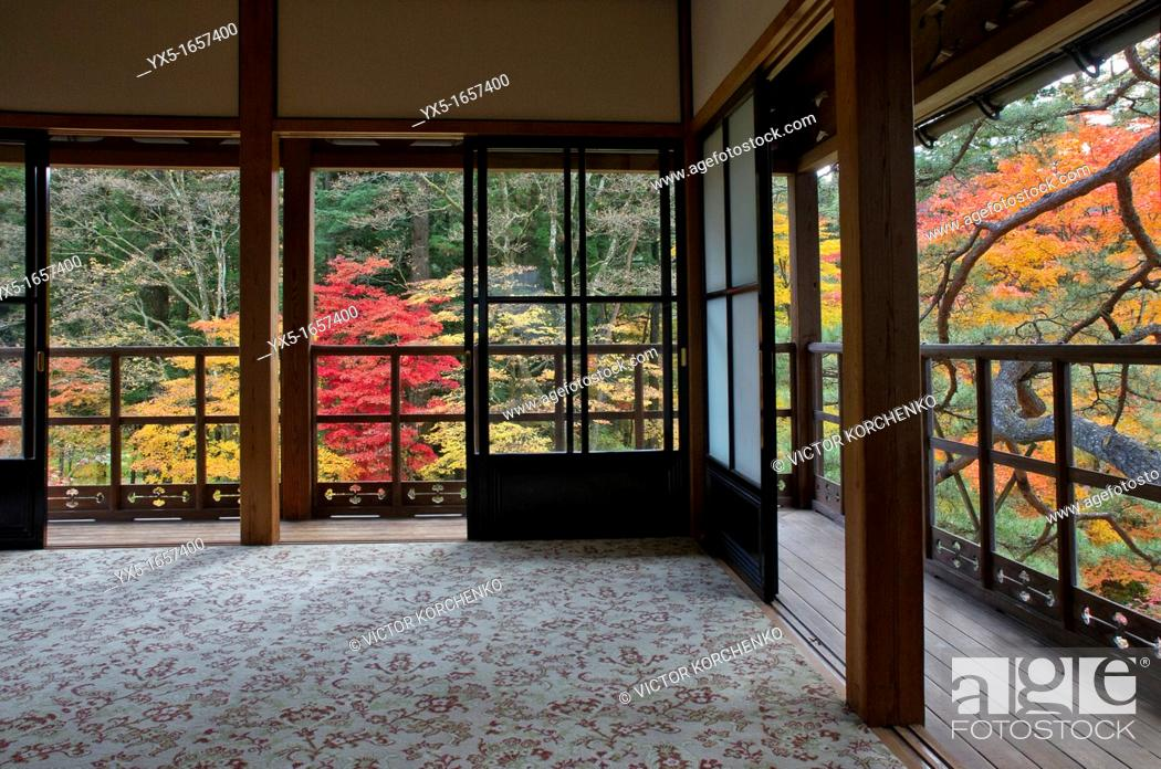 Stock Photo: View of the garden from Tamozawa imperial villa in Nikko, Japan.