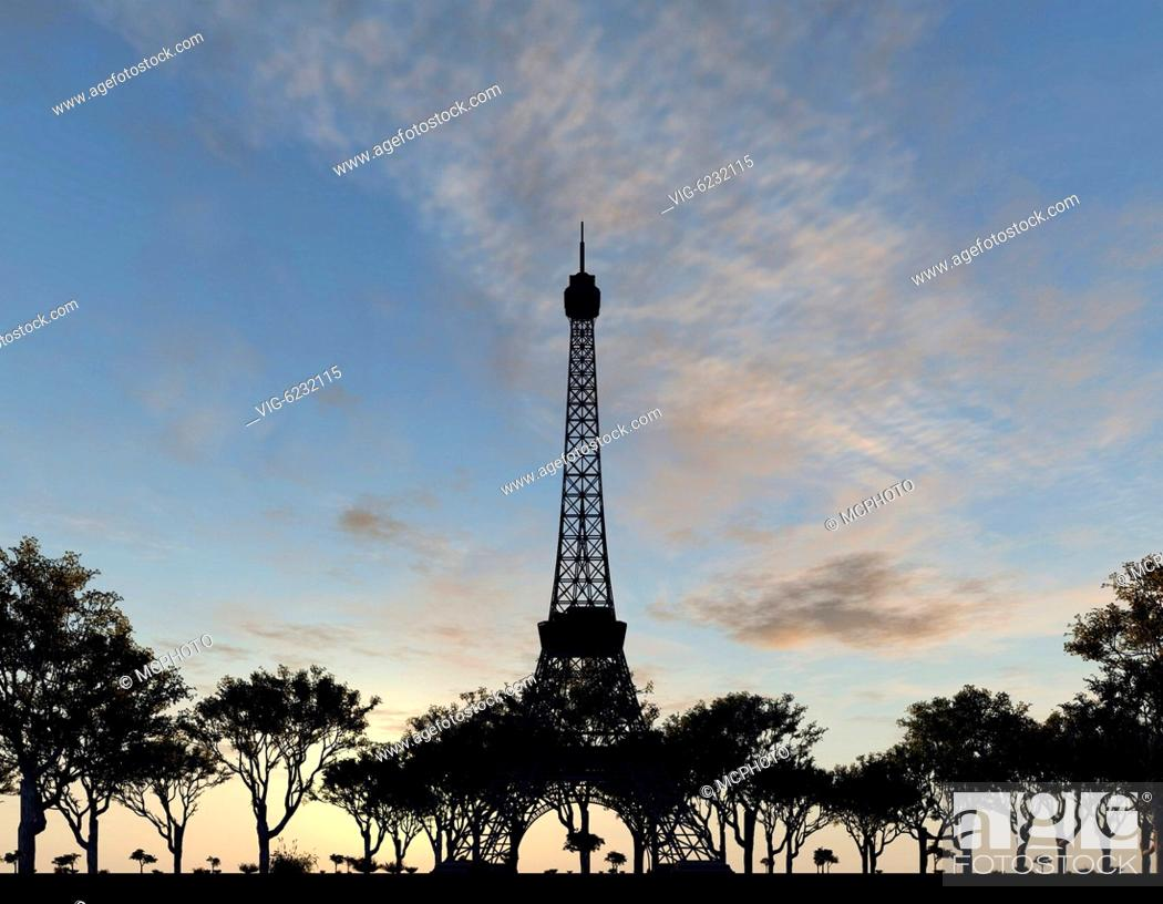 Stock Photo: An illustration of the Eiffel tower in Paris - 01/01/2018.