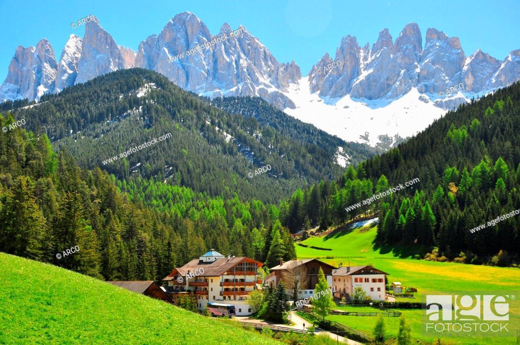 Imagen: Dolomiten, Rosengarten, St. Magdalena, Suedtirol, Italien.