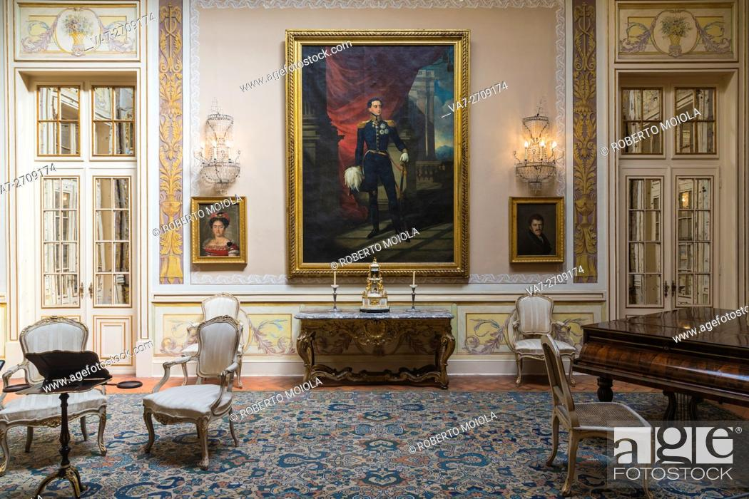 Stock Photo Art Decorations And Paintings In The Rooms Of Old Palace Royal Residence Palácio De Queluz Lisbon Portugal Europe
